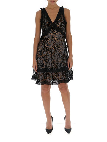 Michael Michael Kors Sequin Embellished Ruffle Trim Dress