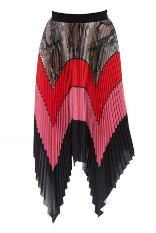 MSGM Colour Block Pleated Skirt