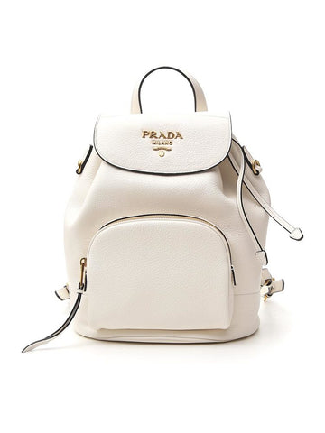 Prada Logo Embossed Backpack