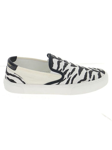 Saint Laurent Venice Zebra Printed Slip-On Sneakers