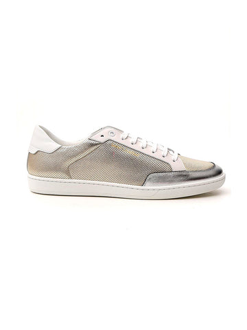 Saint Laurent Perforated Metallic Low-Top Sneakers