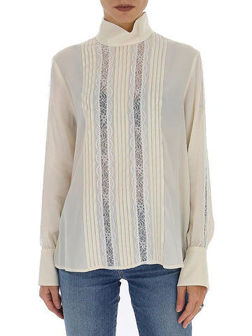 See By Chloé Pleated Lace Panel Blouse