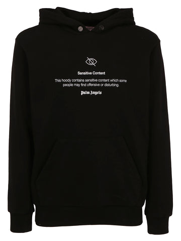 Palm Angels Sensitive Content Slogan Print Hoodie