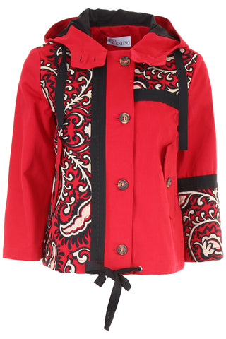 Red Valentino Bandhana Embroidered Gabardine Hooded Jacket