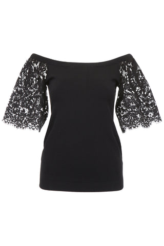 Valentino Lace-Sleeved Top
