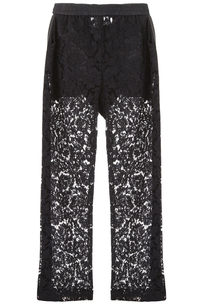 Valentino Sheer Panel Wide-Leg Pants