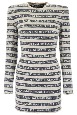 Balmain Logo Striped Mini Dress