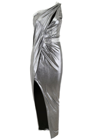 Balmain Asymmetric Metallic Dress