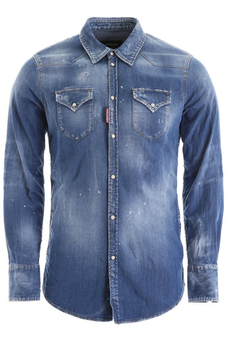 Dsquared2 Straight Fit Stonewashed Denim Shirt