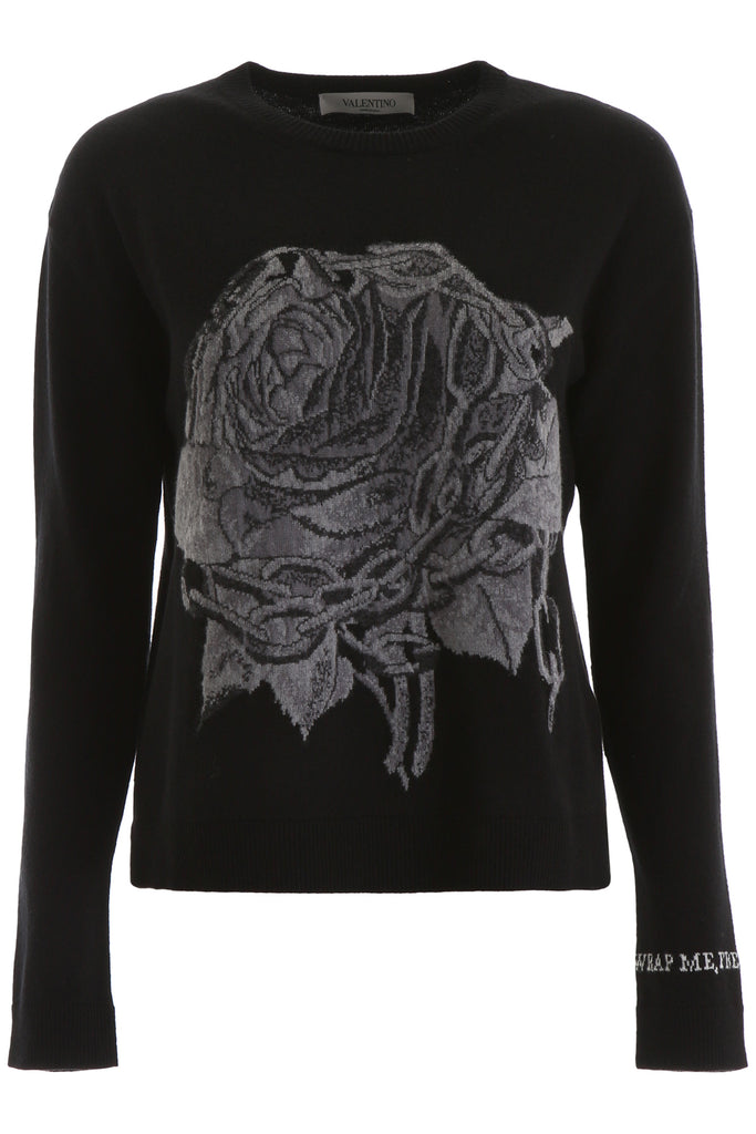 Valentino Knits VALENTINO ROSE CHAIN EMBROIDERED KNIT