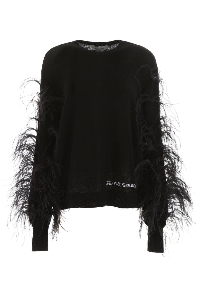 Valentino Knits VALENTINO FEATHER SLEEVE KNITTED JUMPER