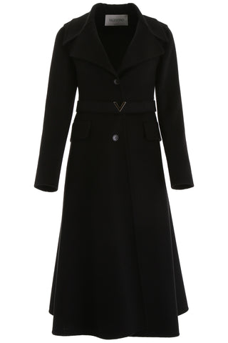Valentino V Belted Midi Single Breasted Coat