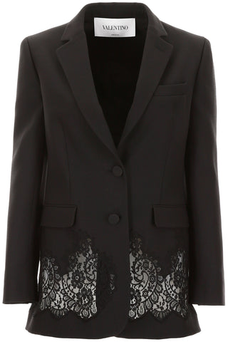 Valentino Lace Panel Single Breasted Blazer