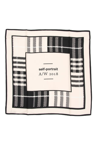 Self-Portrait Check Logo Scarf