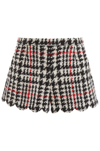 Red Valentino Scallop Hem Houndstooth Shorts