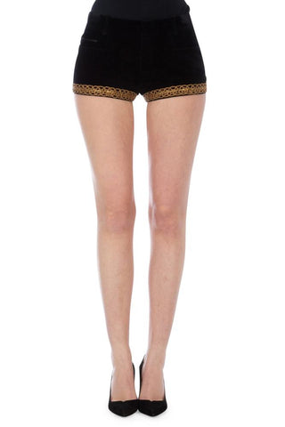 Saint Laurent Brocade Trim Mini Shorts