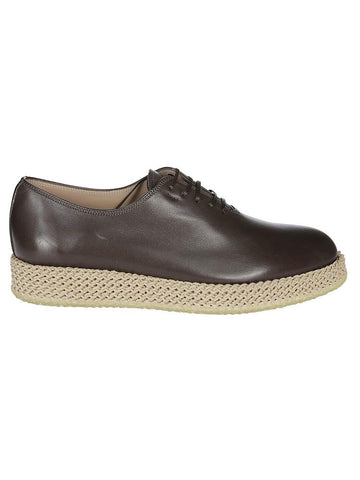 Salvatore Ferragamo Oxford Woven Sole Lace-Up Shoes