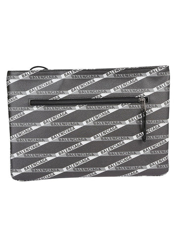 Balenciaga Logo Zipped Clutch Bag