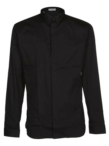 Dior Homme Slim Fit Embroidered Collar Shirt
