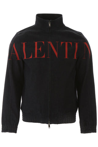 Valentino Logo Zipped Denim Jacket