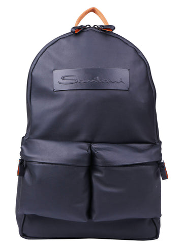 Santoni Logo Embossed Backpack
