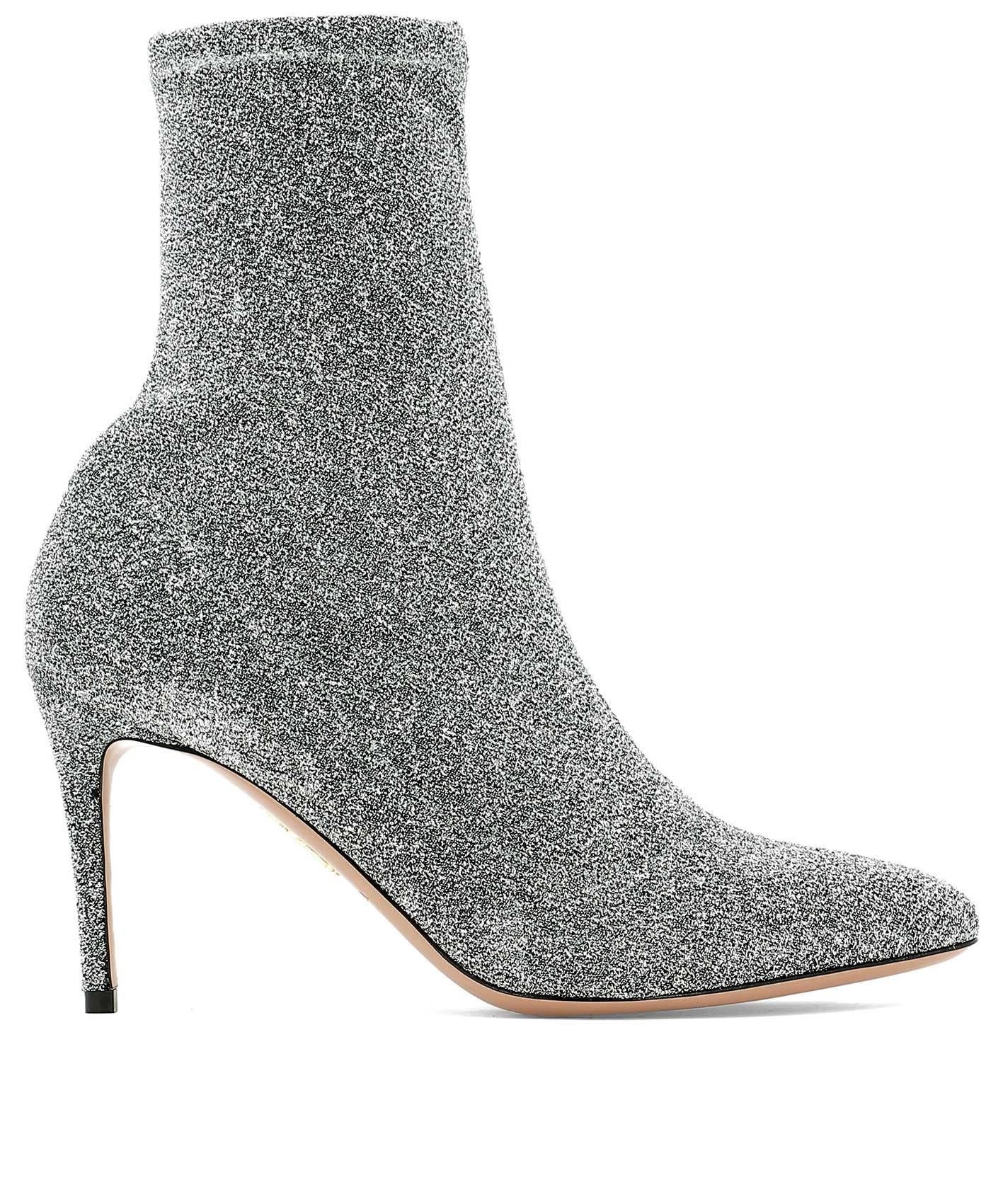 Aquazurra Eclair Glittered High Ankle Boots in Silver