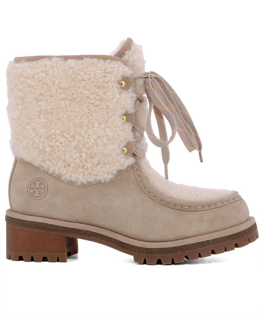 7f593882caa05 Tory Burch Shearling Lace-Up Ankle Boots – Cettire