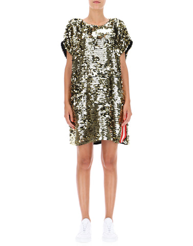 MSGM Logo Striped Sequinned Dress