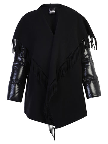 Moncler Padded Sleeves Fringe Detail Jacket