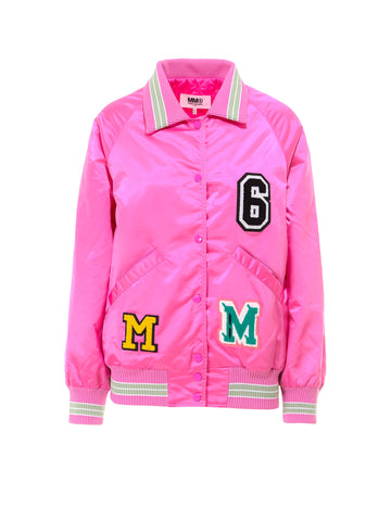 Mm6 Maison Margiela Logo Patchwork Bomber Jacket