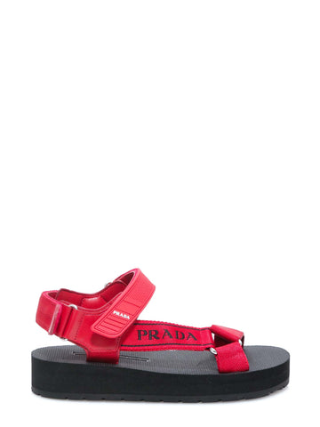Prada Logo Strapped Sandals