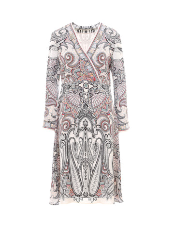 Etro Printed V-Neck Midi Dress