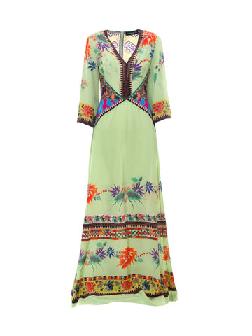 Etro Printed V-Neck Maxi Dress
