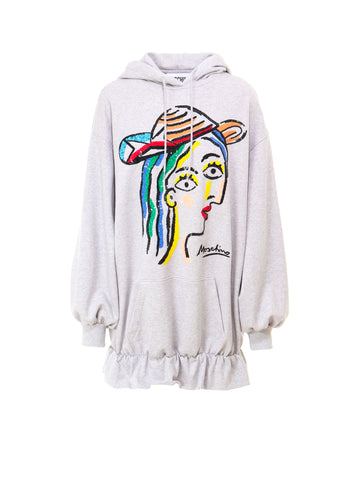 Moschino Sequins Ruched Hem Hoodie Dress