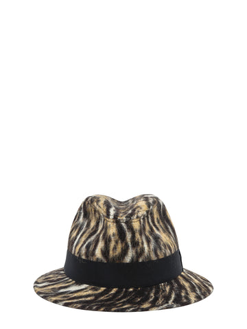 Saint Laurent Animal Print Fedora Hat