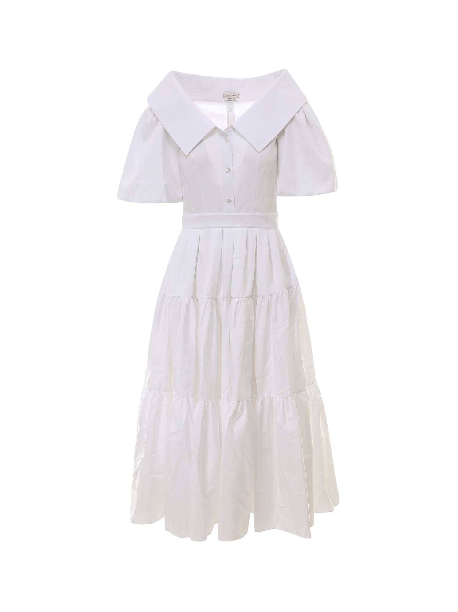 Alexander Mcqueen Cottons ALEXANDER MCQUEEN TIERED MIDI DRESS
