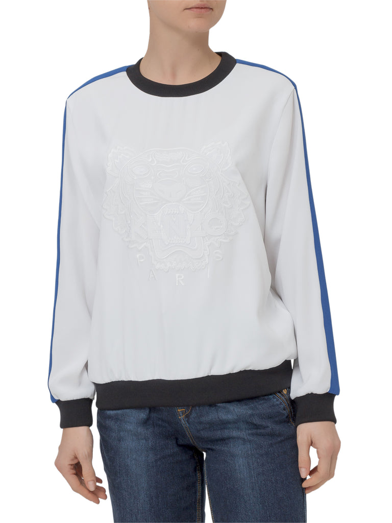 Kenzo Tiger Striped Sleeve Sweater In White
