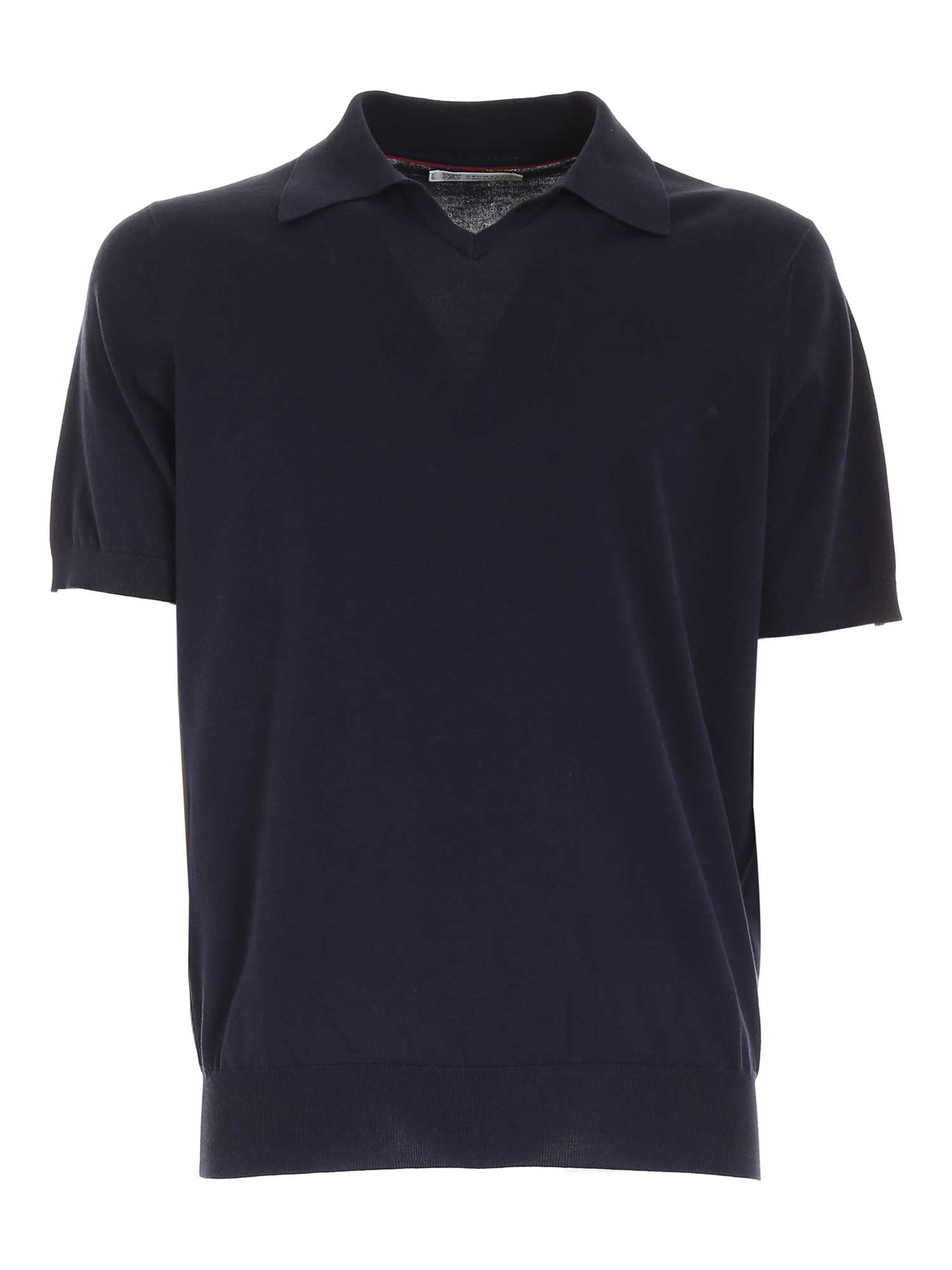 Brunello Cucinelli Ribbed Edges Polo Shirt In Blue