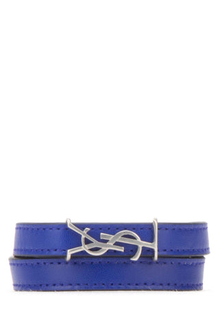 Saint Laurent Logo Leather Wrap Bracelet