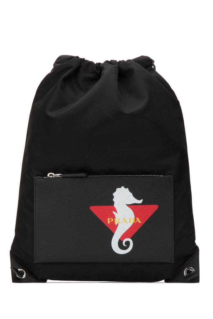 Prada Logo Drawstring Backpack