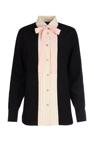 Gucci Pleated Neck Bow Shirt