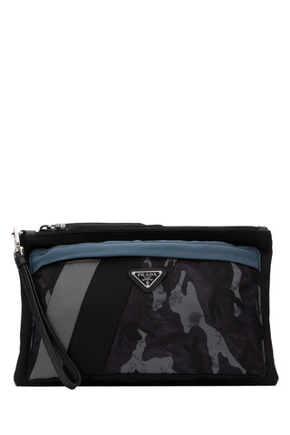 Prada Zipped Camouflage Panelled Pouch