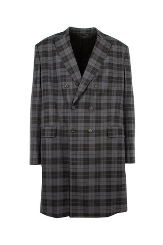 Balenciaga Double-Breasted Plaid Overcoat