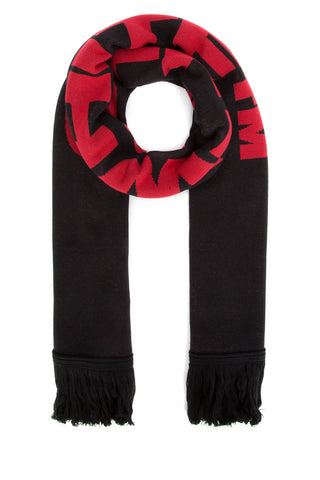 Off-White Striped Bat Logo Scarf