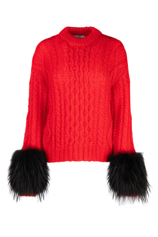 Prada Feathered Sleeve Cable Knit Sweatshirt
