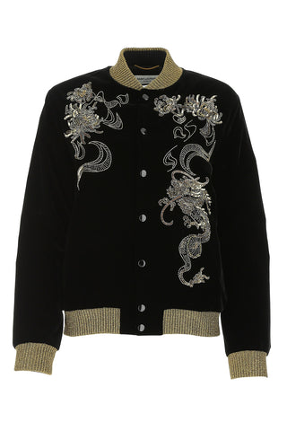 Saint Laurent Dragon Embellished Bomber Jacket