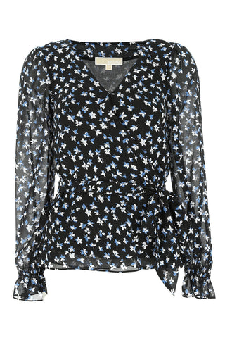 Michael Michael Kors Floral Print Long-Sleeve Top