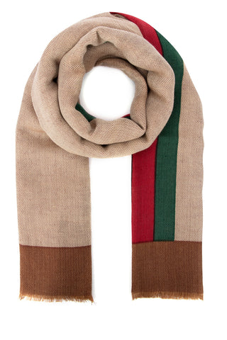 Gucci Fringed Web Detail Scarf