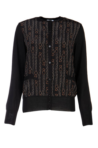 Salvatore Ferragamo Chain Print Knit Cardigan