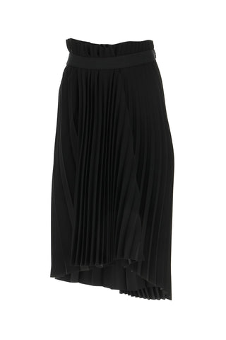 Balenciaga Fancy Pleated Logo Skirt